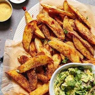 Cheesy Chili Baked Potato Fries (Oil-Free!).