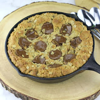 Peanut Butter Cup Oatmeal Chocolate Chip Skillet Cookie.