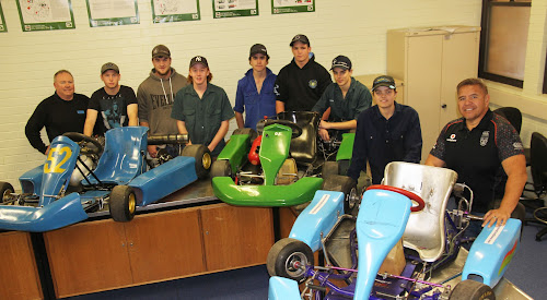 Narrabri High School Year 10 students have been working towards a post-school career at Narrabri Tafe, this past term improving their automotive skills. Pictured,  flanked by Tafe automotive tutor Alan Marshall and Narrabri High School teacher Tom Mason are Hayden McDougall, Layton Baxter, Jack Squire, Robert Davies, Blake Ryan, Lochie Condon and Mitchell Smith. In term three the students are likely to be focusing on engineering and construction.