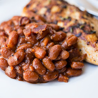 "Sweet 'n Smokey Bourbon ""Baked"" Beans with Thick-cut Apple Smoked Bacon, Maple & Cracked Black Pepper."