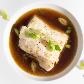 Steamed White Fish with Shiitake-Seaweed Broth.