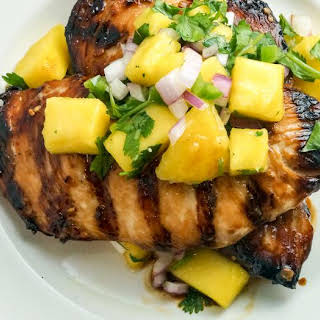 Grilled Soy Ginger Chicken with Mango Salsa.