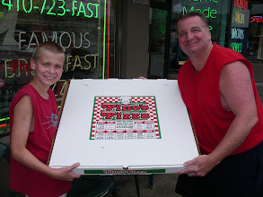 """Photo: Our Hot, Huge & Delicious 28"""" PiZza.  We cut it into 12 huge slice that are 14"""" long!  This is a 5 lb dough ball, 24 ounces of sauce, and 36 ounces of Mozzarella and Wisconsin White Cheddar cheese!  A Hearty & Tasty Pizza, in the biggest monster pizza box you and your friends WILL EVER SEE.  ---- Pino`s Pizza Ocean City Maryland ---- Call 410-723-FAST (3278)-----------81st street Coastal Highway 10 minute Carry-out, or Fast Delivery to all of Ocean City  Ask for our $39.99 special we are running on this scrumptuos 28"""" beast"""