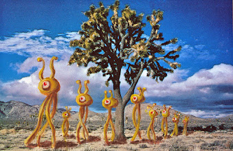 Photo: I added these alien hikers to a modern postcard of Joshua Tree National Park.
