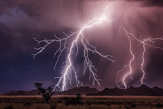 Photo: Here's another photo from a lightning storm in Namibia that I was lucky enough to have front row seats for. This was my first real chance to photograph lightning and it took a bit of trial and error to figure out what settings to use (I wasn't expecting nor prepared for it) but thankfully it all came together in the end. I was no doubt helped a lot by the time of day - it was just after sunset and there was still a very faint light left from the sun.  #BreakfastClub