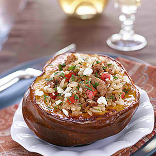 Stuffed Acorn Squash with Sausage and Rice
