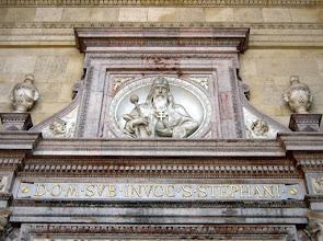Photo: A főbejárat tetejéről  Szent István néz le ránk