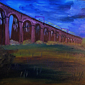 viaduct by Paul Robin Andrews - Painting All Painting ( viaduct, train, oil painting, painting )