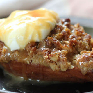 Pear Crisp With Salted Bourbon Caramel