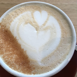Love In A Cup by Dawn Simpson - Food & Drink Alcohol & Drinks ( love, romance, coffee shop, coffee, hearts, capuccino )