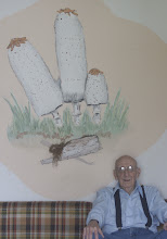 Photo: Dick Grimm with his Shaggy Manes wall mural in his mush room! Photography by Alan McClelland.