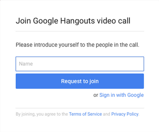 Guest access to Hangouts video calls without a Google account
