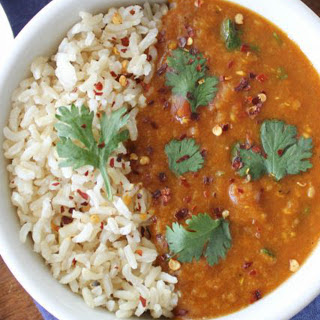 Pressure-Cooker Red Lentil Curry [Vegan].