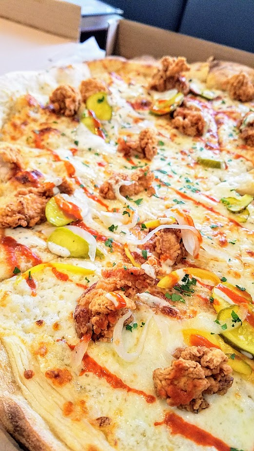 The Crown PDX, Imperial pizza with fried chicken, pickles, ranch, honey, hot sauce