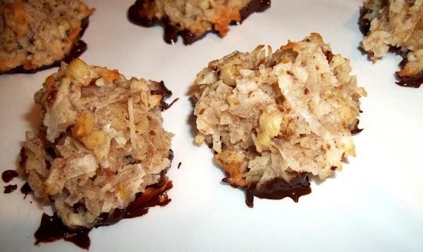 Chocolate Dipped Nut Macaroons Recipe