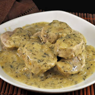 Pork Tenderloin with Mustard and White Wine Sauce.