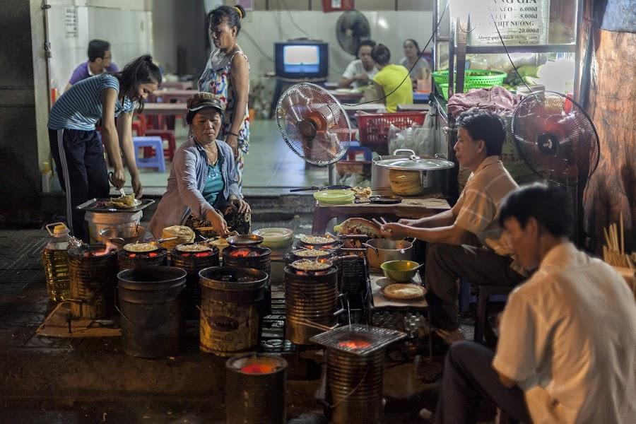 Street Side Eatery by Steve Badger - City,  Street & Park  Street Scenes ( street, asia, vietnam, travel, danang )