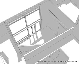 Photo: Perspective detail from above showing the double height entry space which also serves as a solar collector: Energy Efficient Dwelling, Rathcormac, County Cork, Ireland. The project was carried out entirely in SketchUp Pro/ LayOut
