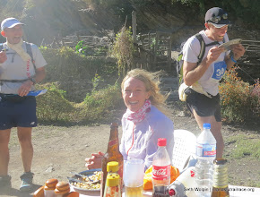 Photo: Finishers usually went straight for the food, Shaun, Claire Price and James