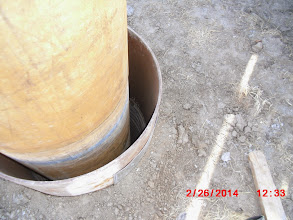 Photo: Axial test shaft with isolation casing in fill material.