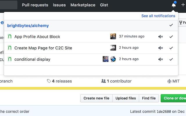 GitHub Notifications Popover