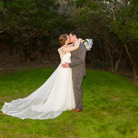 One Last Kiss by Matthew Chambers - Wedding Bride & Groom ( bride, dress, groom, tuxedo, green, white, kissing, wedding )