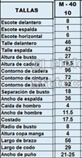 Talla 10 de la tabla de tallas de El Rincon De Celestecielo