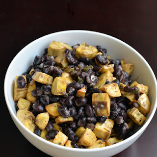 Mojito-Dressed Roasted Plantain and Black Bean Salad