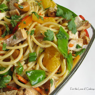 Asian Noodle Salad with Chicken and Cashews.