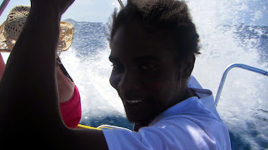 Photo: A wet ride in Sherwin's boat!