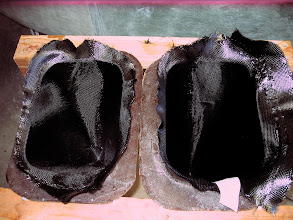 Photo: This was tough to see, but it is the lateral-split pant molds with 3 BID carbon.  This was my first foray into carbon, and it was a lot easier than I thought it would be.  In some respects, easier than glass.