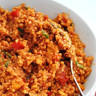 Bulgur Pilaf With Tomatoes And Bell Peppers.