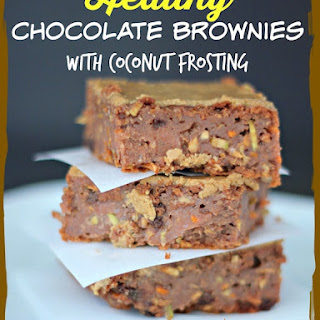 Healthy Chocolate Brownies with Coconut Frosting (Gluten- & Dairy-Free).