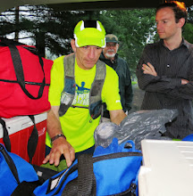 "Photo: Preparing to start day#1. The driving rain did not seem to interfere with Chuck's frame of mind at all saying ""I've trained for three years in all kinds of weather!!"" You can see the focus in his face - and focus he did! It was amazing to watch him in that space!! — with Chuck Stone, Harvey Boatman and Keith Stone in Wrightstown, PA."