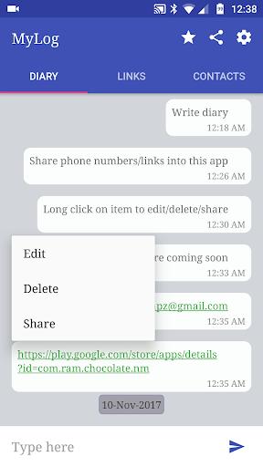 MyLog - Diary + Notes + Pocket v1.1 screenshots 2