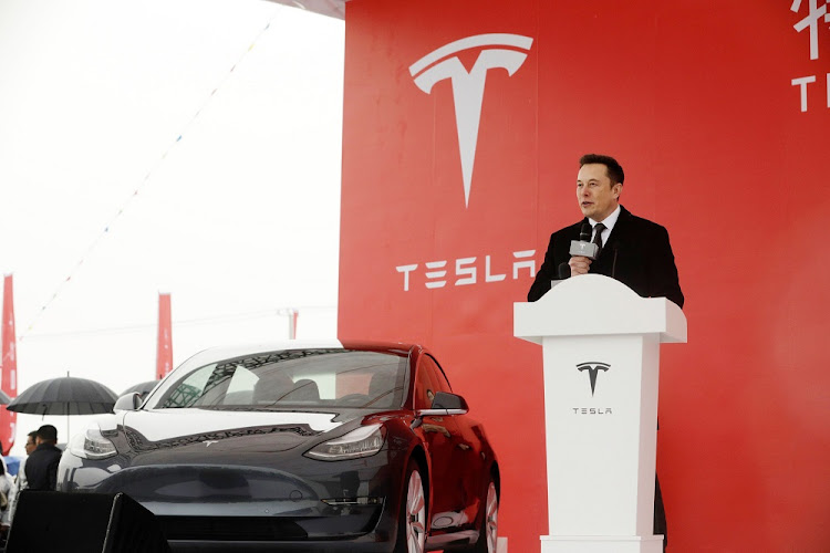 Elon Musk, CEO of Tesla speaks during an event at the site of the company's manufacturing facility in Shanghai on January 7 2019. Picture: Qilai Shen/Bloomberg