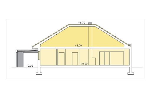 Alabama 2 wersja C z pojedynczym garażem - Przekrój