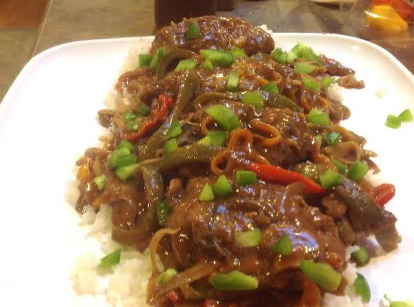 Mushroomed Salisbury Steak W/ Rainbow Peppers Recipe