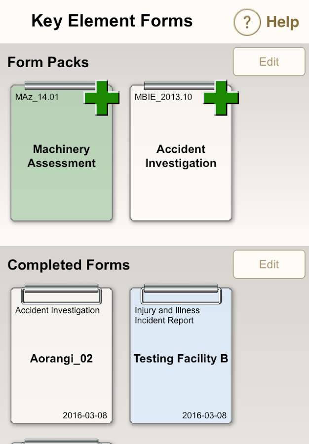 Key Element Forms- screenshot