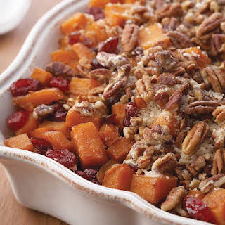 Roasted Sweet Potatoes with Cinnamon Pecan Crunch.