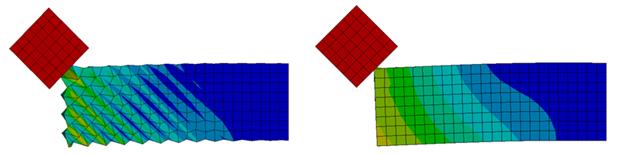 ANSYS Удар деформируемой балки абсолютно жестким телом при использовании алгоритма контроля эффекта «песочных часов» (справа) и без него (слева)