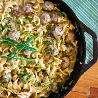 Skillet Meatballs and Noodles in Creamy Herb Sauce.