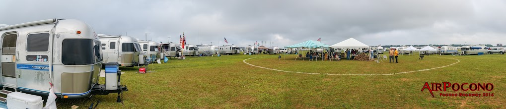 Photo: You can zoom in, wait, and then zoom in again to see 19 Airstreams in the ring.  We were joined by an Airstream Interstate 3500 Motorhome shortly after.