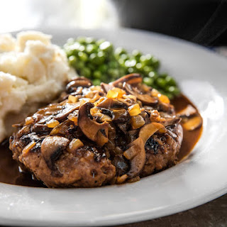 Salisbury Steak With Mushroom Brown Gravy.