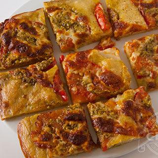 Flatbread with Pesto, Tomato and Provolone Cheese Recipe