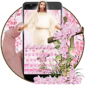God Christ Cross Cherry Blossom Floral Keyboard