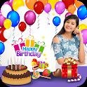 Birthday Frames : Photo On Birthday Cake With Name icon