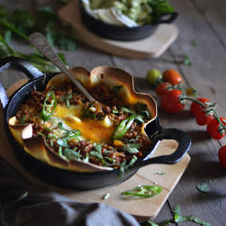 Baked eggs with Mexican chorizo.