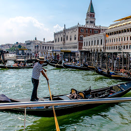The boat taxi stop enroute St Mark's square by Hariharan Venkatakrishnan - City,  Street & Park  Vistas