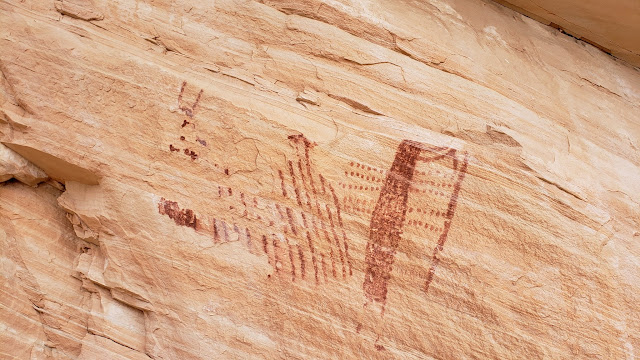 Badly weathered pictographs
